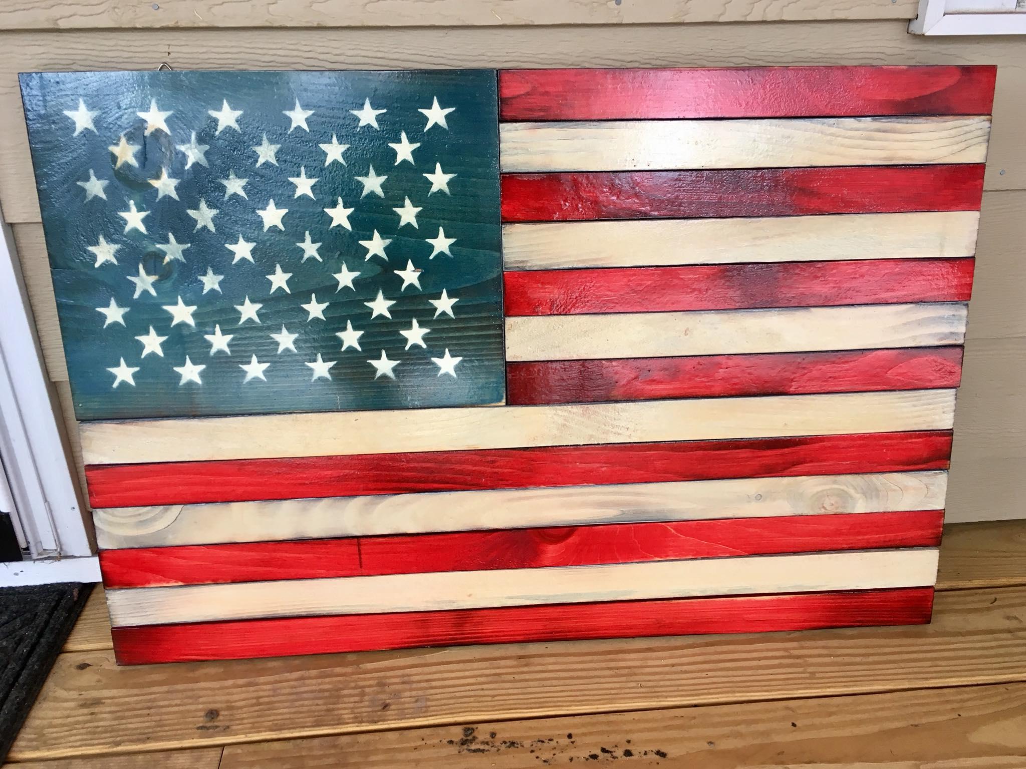 2 X 3 Rustic Wooden American Flag