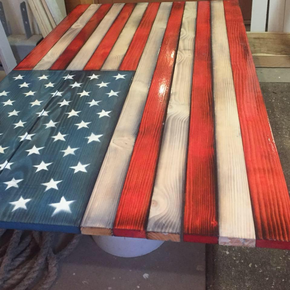 Stall Trap Bay From 175 00: 2′ X 3′ Rustic Wooden American Flag